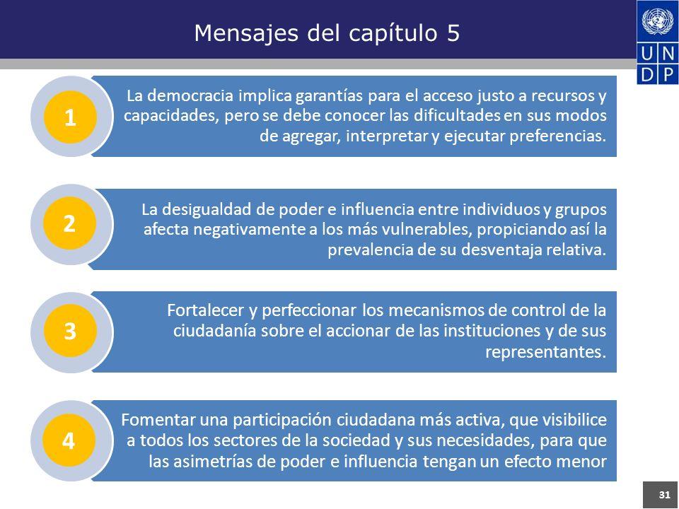 31 Mensajes del capítulo 5 La democracia implica garantías para el acceso justo a recursos y capacidades, pero se debe conocer las dificultades en sus modos de agregar, interpretar y ejecutar preferencias.