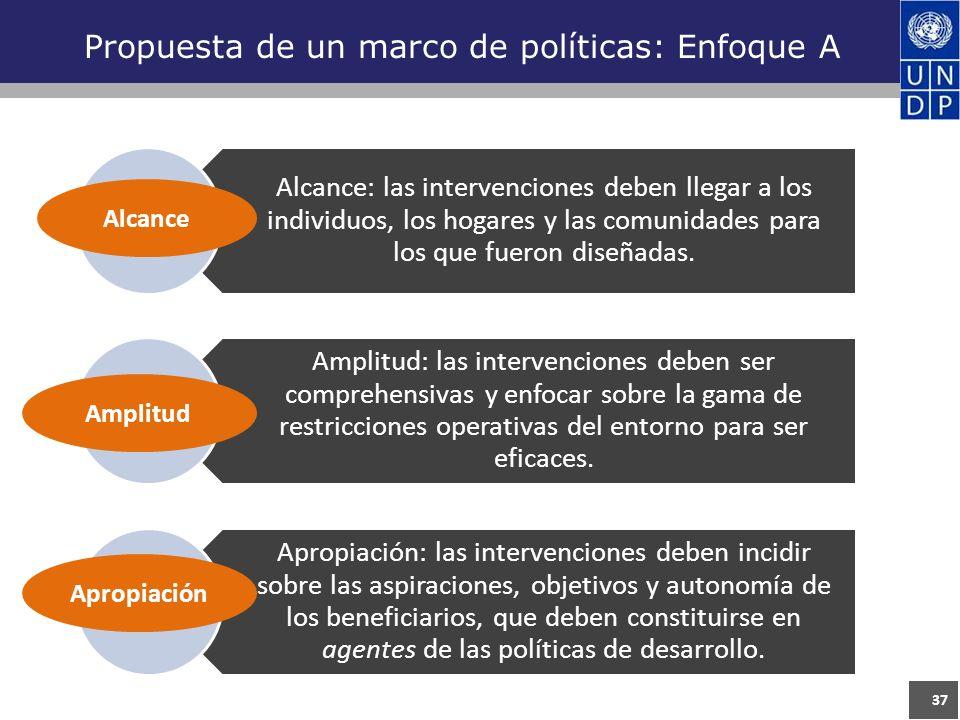 37 Propuesta de un marco de políticas: Enfoque A Alcance: las intervenciones deben llegar a los individuos, los hogares y las comunidades para los que fueron diseñadas.