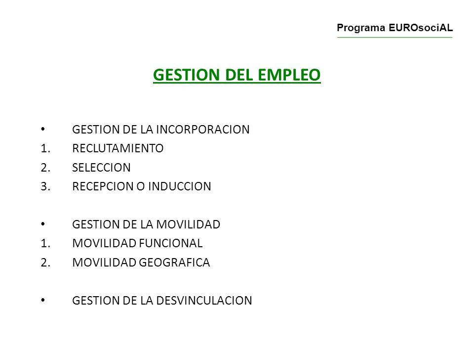 GESTION DEL EMPLEO GESTION DE LA INCORPORACION 1.RECLUTAMIENTO 2.SELECCION 3.RECEPCION O INDUCCION GESTION DE LA MOVILIDAD 1.MOVILIDAD FUNCIONAL 2.MOV