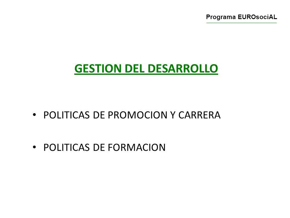 GESTION DEL DESARROLLO POLITICAS DE PROMOCION Y CARRERA POLITICAS DE FORMACION Programa EUROsociAL