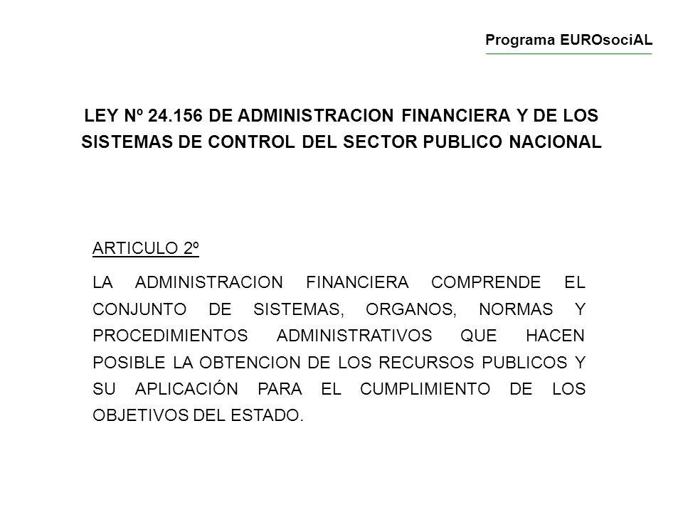 LEY Nº 24.156 DE ADMINISTRACION FINANCIERA Y DE LOS SISTEMAS DE CONTROL DEL SECTOR PUBLICO NACIONAL ARTICULO 2º LA ADMINISTRACION FINANCIERA COMPRENDE