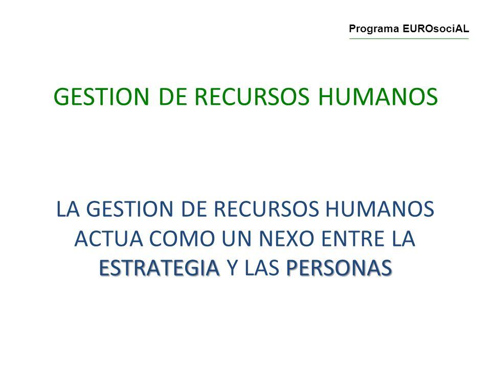 GESTION DE RECURSOS HUMANOS ESTRATEGIAPERSONAS LA GESTION DE RECURSOS HUMANOS ACTUA COMO UN NEXO ENTRE LA ESTRATEGIA Y LAS PERSONAS Programa EUROsociA