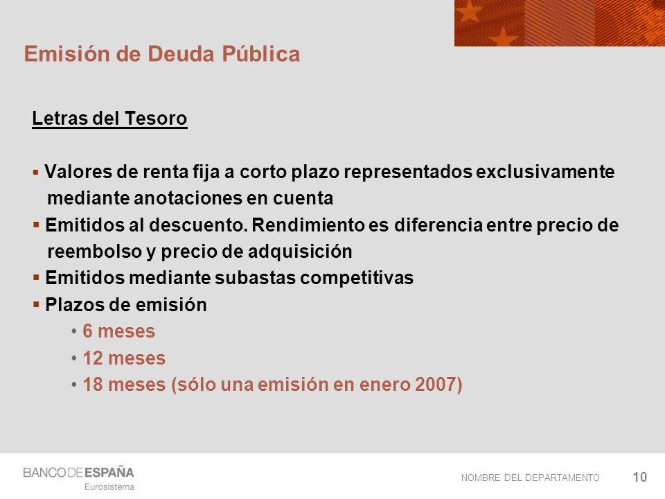 NOMBRE DEL DEPARTAMENTO 10 Emisión de Deuda Pública Letras del Tesoro Valores de renta fija a corto plazo representados exclusivamente mediante anotac