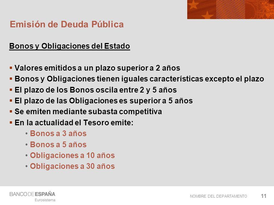 NOMBRE DEL DEPARTAMENTO 11 Emisión de Deuda Pública Bonos y Obligaciones del Estado Valores emitidos a un plazo superior a 2 años Bonos y Obligaciones