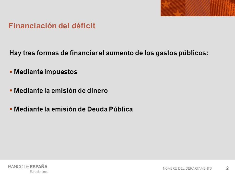 NOMBRE DEL DEPARTAMENTO 2 Financiación del déficit Hay tres formas de financiar el aumento de los gastos públicos: Mediante impuestos Mediante la emis
