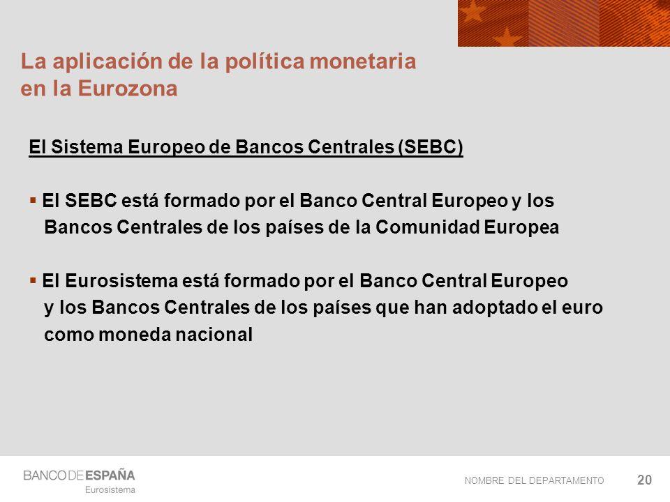 NOMBRE DEL DEPARTAMENTO 20 La aplicación de la política monetaria en la Eurozona El Sistema Europeo de Bancos Centrales (SEBC) El SEBC está formado po