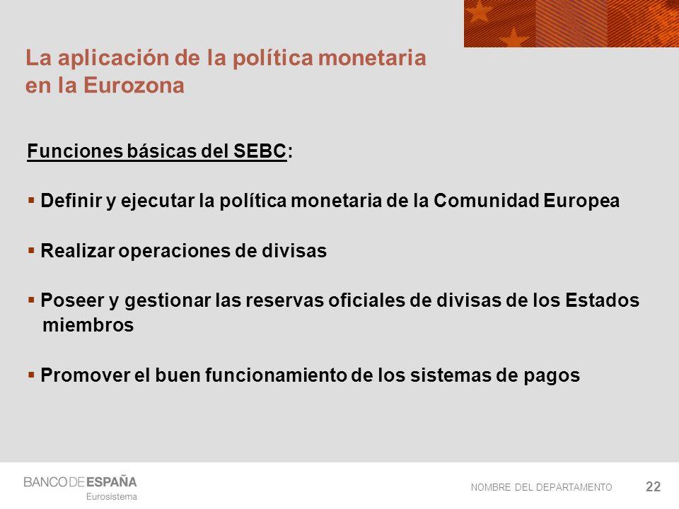 NOMBRE DEL DEPARTAMENTO 22 La aplicación de la política monetaria en la Eurozona Funciones básicas del SEBC: Definir y ejecutar la política monetaria
