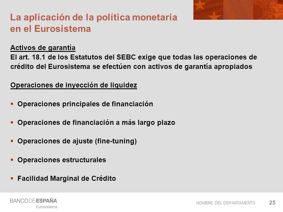 NOMBRE DEL DEPARTAMENTO 25 La aplicación de la política monetaria en el Eurosistema Activos de garantía El art. 18.1 de los Estatutos del SEBC exige q