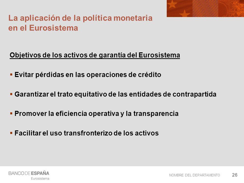 NOMBRE DEL DEPARTAMENTO 26 La aplicación de la política monetaria en el Eurosistema Objetivos de los activos de garantía del Eurosistema Evitar pérdid