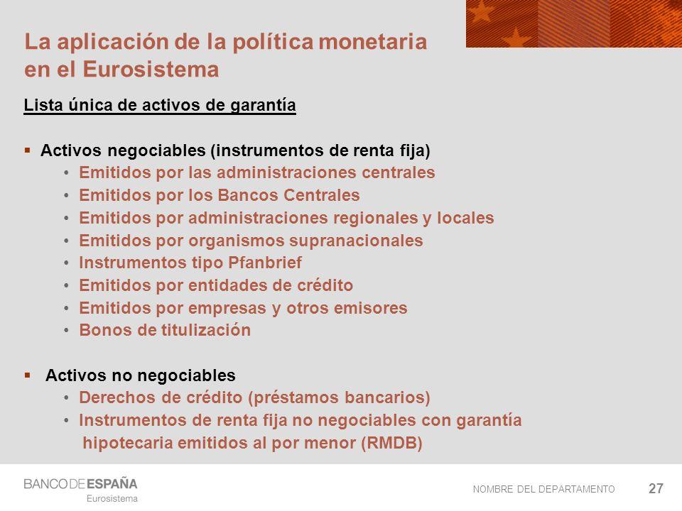 NOMBRE DEL DEPARTAMENTO 27 La aplicación de la política monetaria en el Eurosistema Lista única de activos de garantía Activos negociables (instrument
