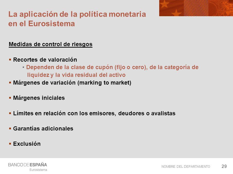 NOMBRE DEL DEPARTAMENTO 29 La aplicación de la política monetaria en el Eurosistema Medidas de control de riesgos Recortes de valoración Dependen de l