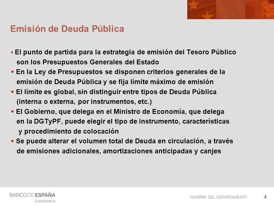 NOMBRE DEL DEPARTAMENTO 4 Emisión de Deuda Pública El punto de partida para la estrategia de emisión del Tesoro Público son los Presupuestos Generales