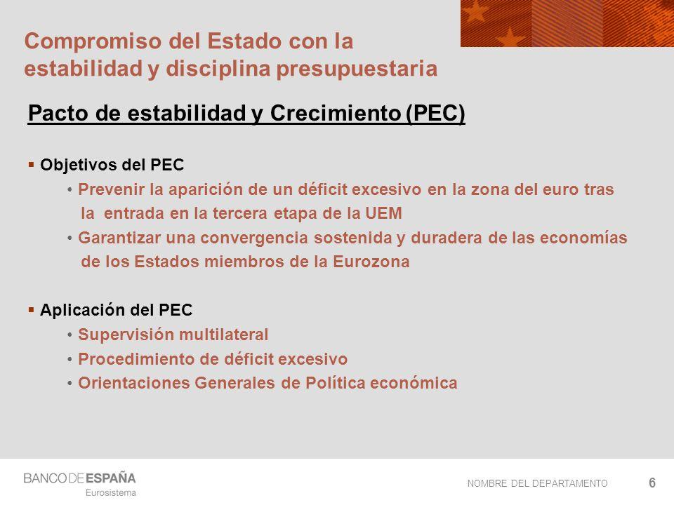 NOMBRE DEL DEPARTAMENTO 6 Compromiso del Estado con la estabilidad y disciplina presupuestaria Pacto de estabilidad y Crecimiento (PEC) Objetivos del