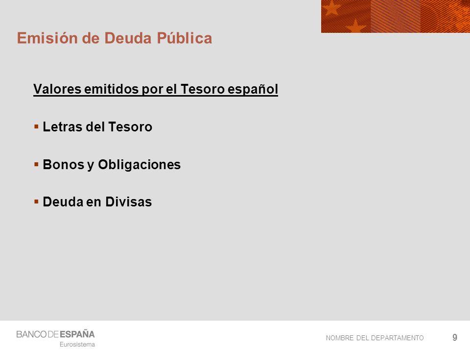 NOMBRE DEL DEPARTAMENTO 9 Emisión de Deuda Pública Valores emitidos por el Tesoro español Letras del Tesoro Bonos y Obligaciones Deuda en Divisas