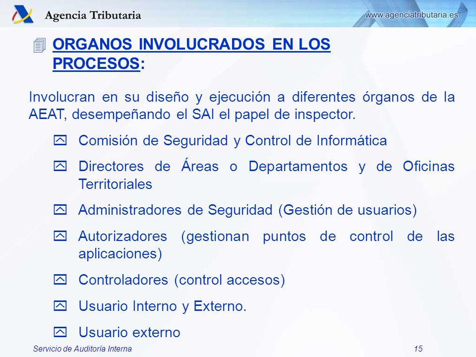 Servicio de Auditoría Interna15 Involucran en su diseño y ejecución a diferentes órganos de la AEAT, desempeñando el SAI el papel de inspector. yComis