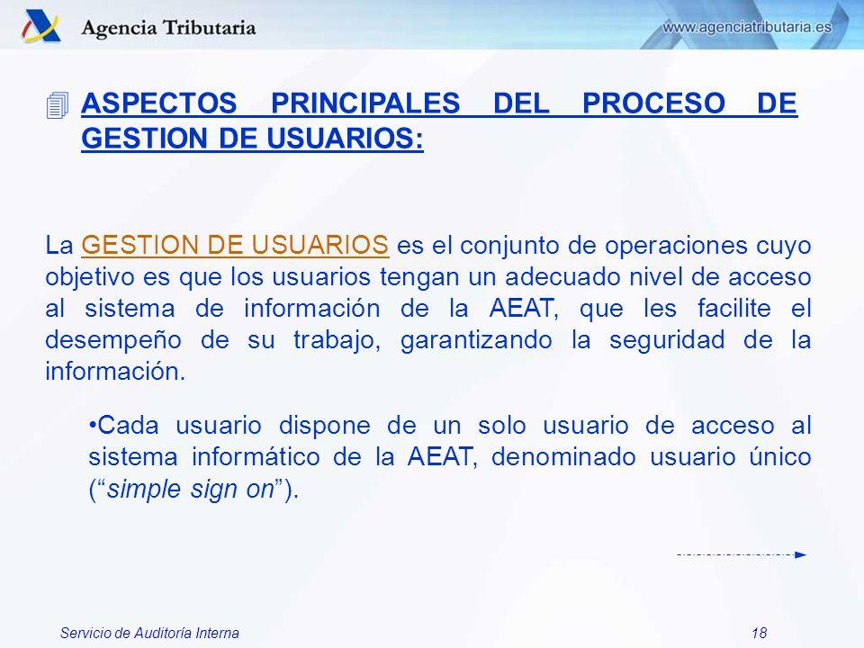 Servicio de Auditoría Interna18 4ASPECTOS PRINCIPALES DEL PROCESO DE GESTION DE USUARIOS: La GESTION DE USUARIOS es el conjunto de operaciones cuyo ob
