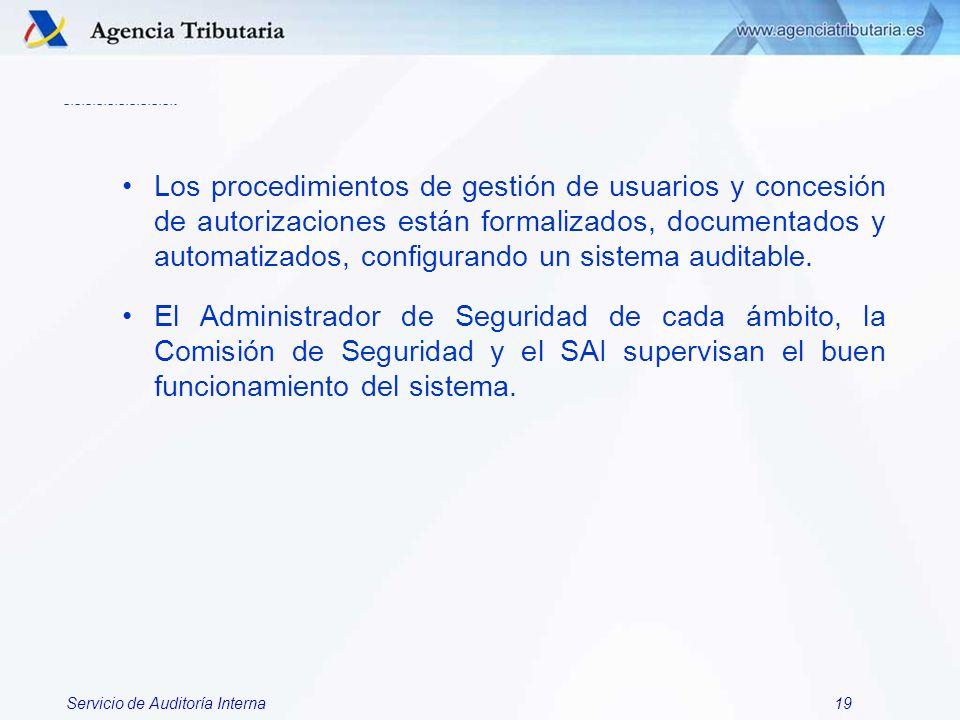 Servicio de Auditoría Interna19 Los procedimientos de gestión de usuarios y concesión de autorizaciones están formalizados, documentados y automatizad