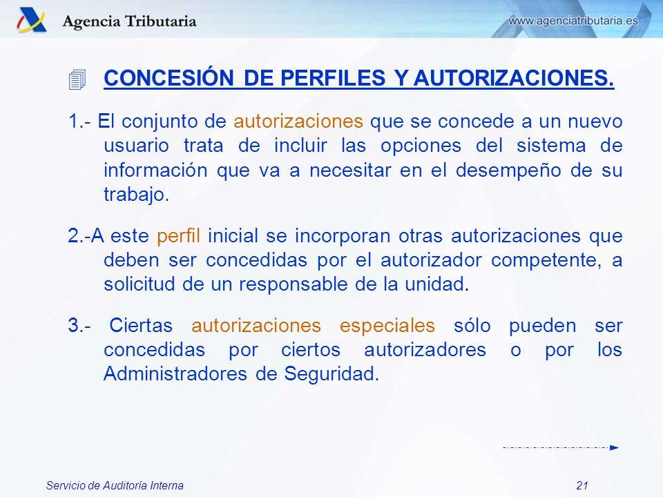 Servicio de Auditoría Interna21 4CONCESIÓN DE PERFILES Y AUTORIZACIONES. 1.- El conjunto de autorizaciones que se concede a un nuevo usuario trata de