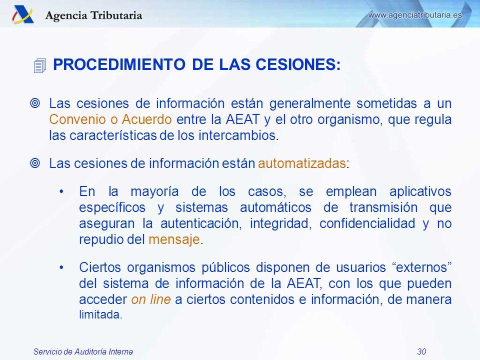 Servicio de Auditoría Interna30 ¥Las cesiones de información están generalmente sometidas a un Convenio o Acuerdo entre la AEAT y el otro organismo, q