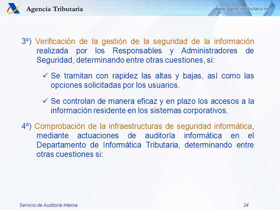 Servicio de Auditoría Interna34 3º) Verificación de la gestión de la seguridad de la información realizada por los Responsables y Administradores de S