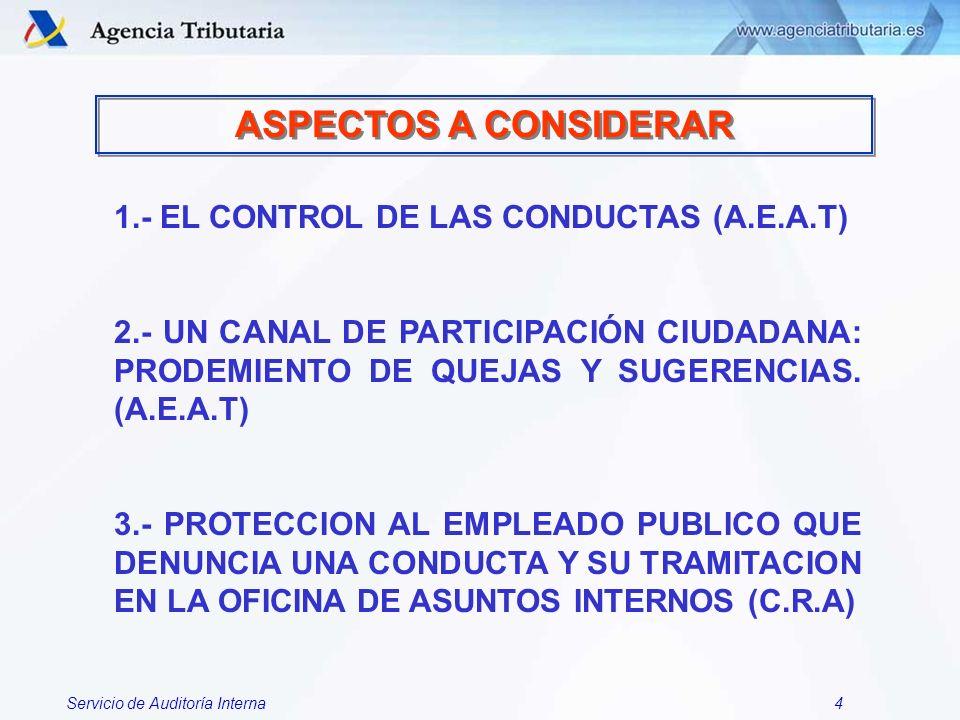Servicio de Auditoría Interna5 EL CONTROL DE LAS CONDUCTAS EN LA A.E.AT.