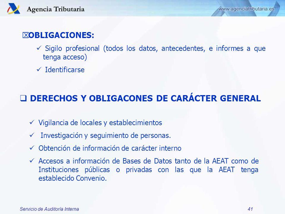 Servicio de Auditoría Interna41 OBLIGACIONES: Sigilo profesional (todos los datos, antecedentes, e informes a que tenga acceso) Identificarse DERECHOS