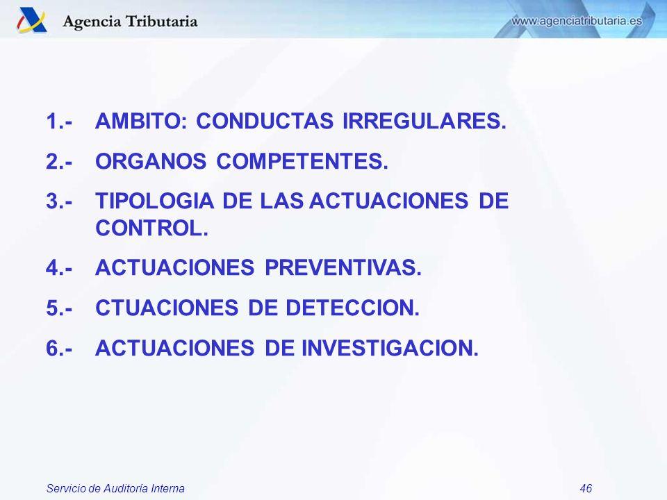 Servicio de Auditoría Interna46 1.- AMBITO: CONDUCTAS IRREGULARES. 2.- ORGANOS COMPETENTES. 3.- TIPOLOGIA DE LAS ACTUACIONES DE CONTROL. 4.- ACTUACION