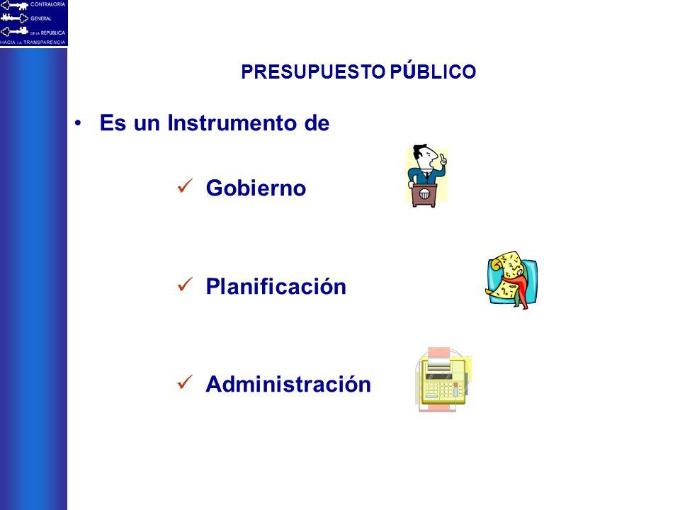 PRESUPUESTO P Ú BLICO Es un Instrumento de Gobierno Planificación Administración