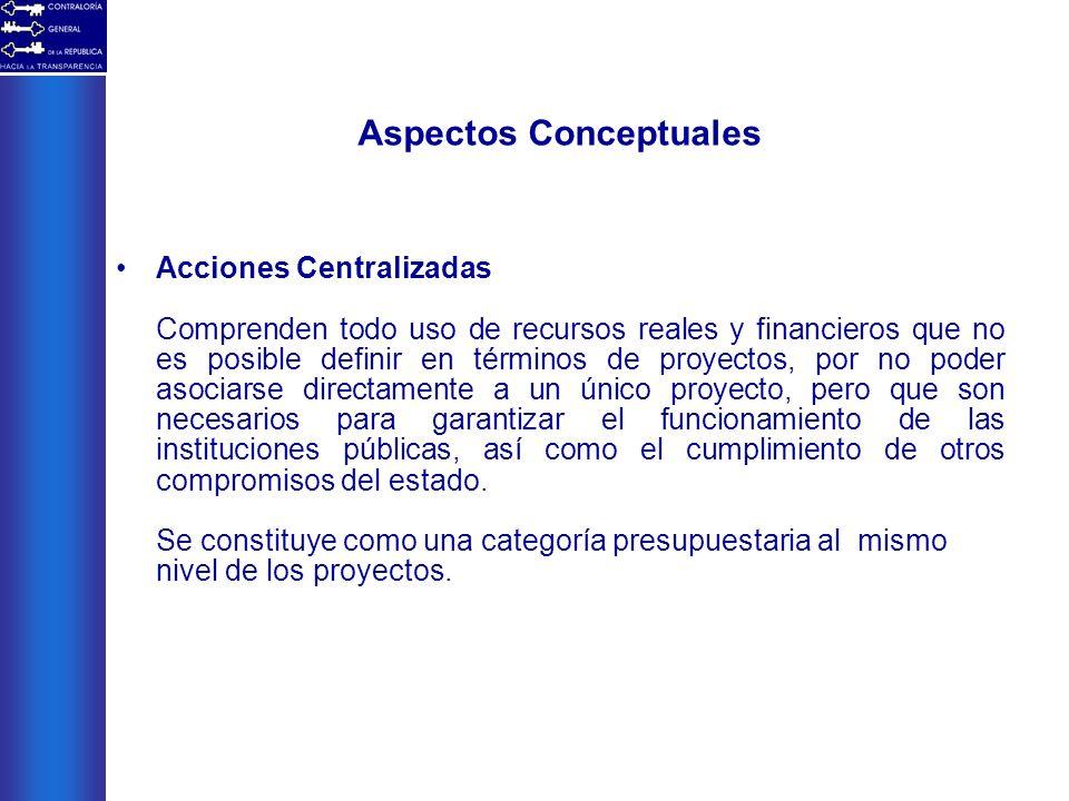 Aspectos Conceptuales Acciones Centralizadas Comprenden todo uso de recursos reales y financieros que no es posible definir en términos de proyectos,
