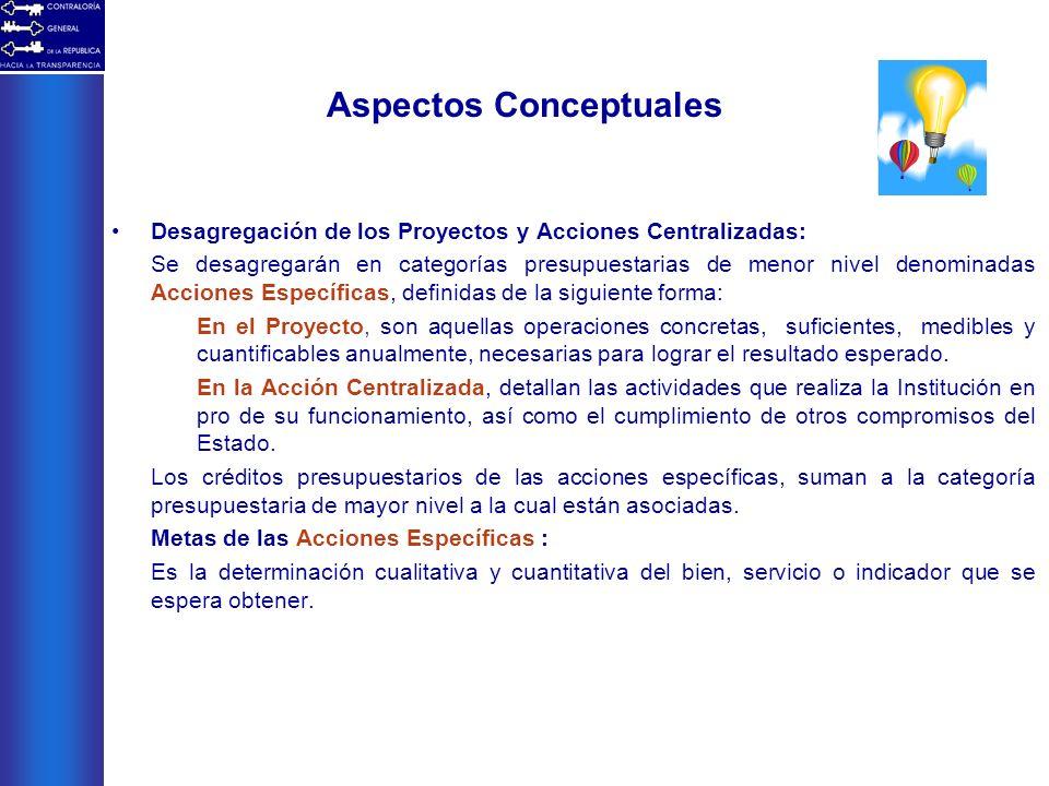 Aspectos Conceptuales Desagregación de los Proyectos y Acciones Centralizadas: Se desagregarán en categorías presupuestarias de menor nivel denominada