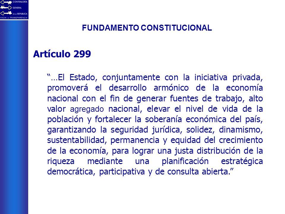 FUNDAMENTO CONSTITUCIONAL Artículo 299 …El Estado, conjuntamente con la iniciativa privada, promoverá el desarrollo armónico de la economía nacional c