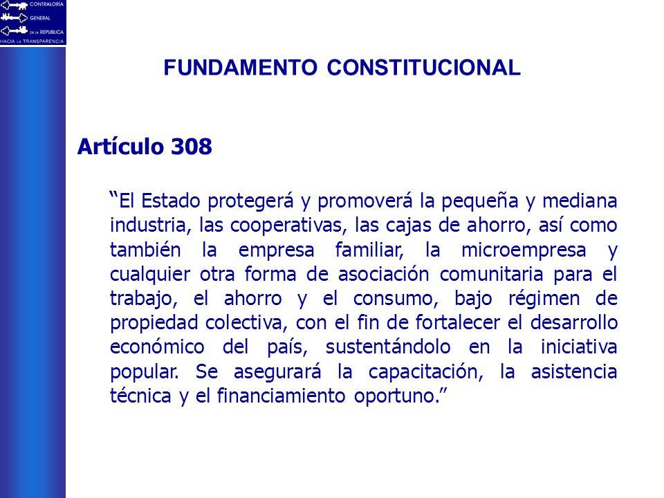 FUNDAMENTO CONSTITUCIONAL Artículo 308 El Estado protegerá y promoverá la pequeña y mediana industria, las cooperativas, las cajas de ahorro, así como