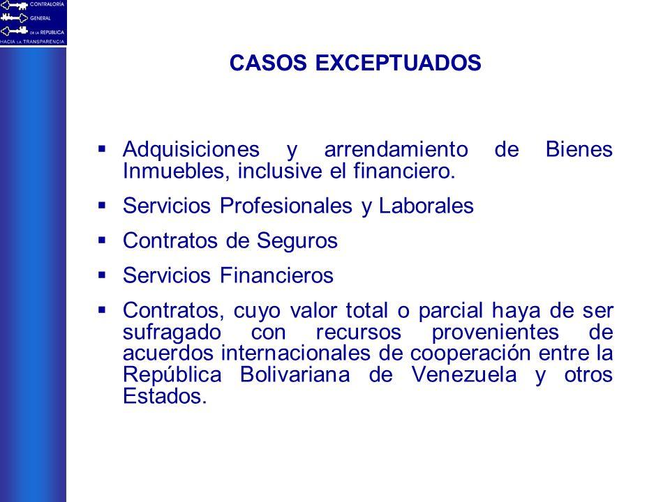 Adquisiciones y arrendamiento de Bienes Inmuebles, inclusive el financiero. Servicios Profesionales y Laborales Contratos de Seguros Servicios Financi