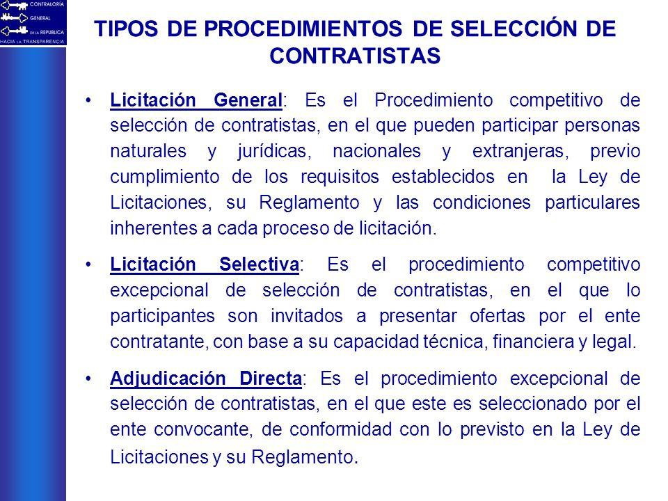TIPOS DE PROCEDIMIENTOS DE SELECCIÓN DE CONTRATISTAS Licitación General: Es el Procedimiento competitivo de selección de contratistas, en el que puede