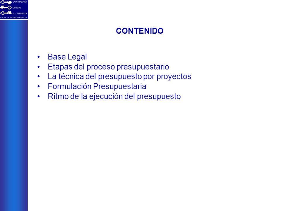 CONTENIDO Base Legal Etapas del proceso presupuestario La técnica del presupuesto por proyectos Formulación Presupuestaria Ritmo de la ejecución del p