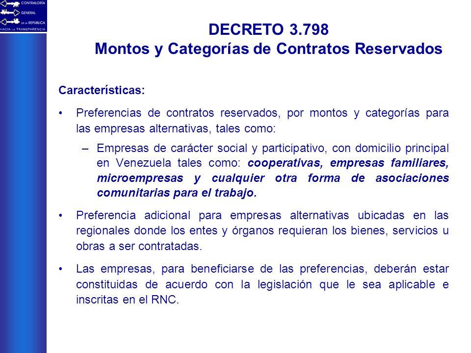 Características: Preferencias de contratos reservados, por montos y categorías para las empresas alternativas, tales como: –Empresas de carácter socia