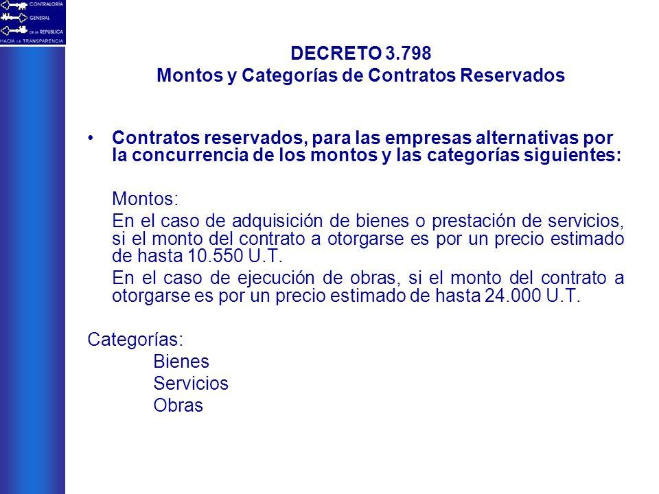 Contratos reservados, para las empresas alternativas por la concurrencia de los montos y las categorías siguientes: Montos: En el caso de adquisición