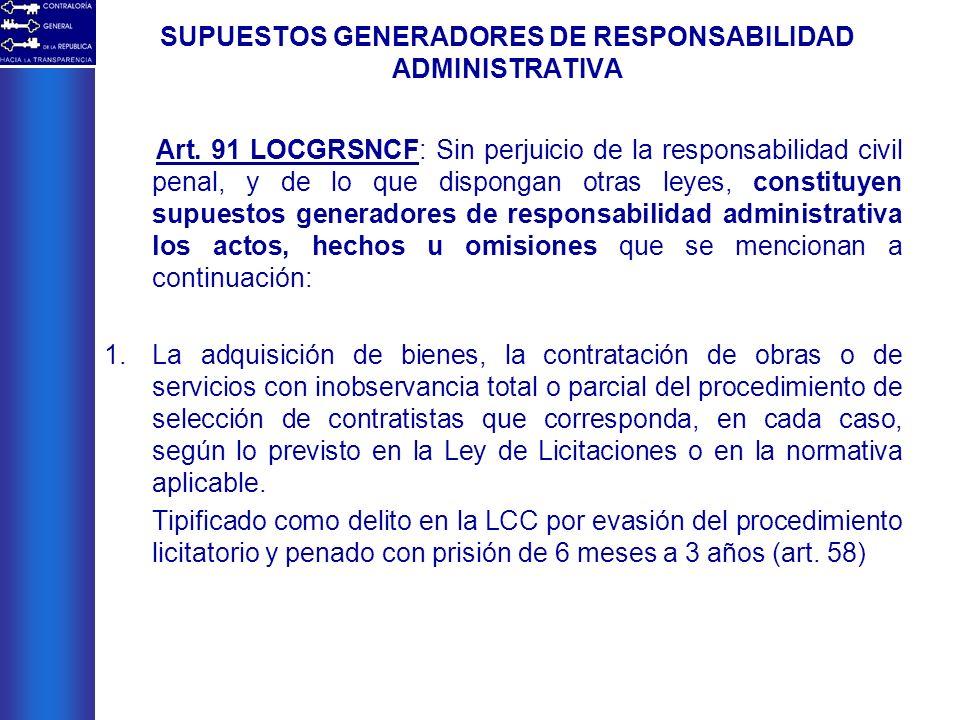 SUPUESTOS GENERADORES DE RESPONSABILIDAD ADMINISTRATIVA Art. 91 LOCGRSNCF: Sin perjuicio de la responsabilidad civil penal, y de lo que dispongan otra