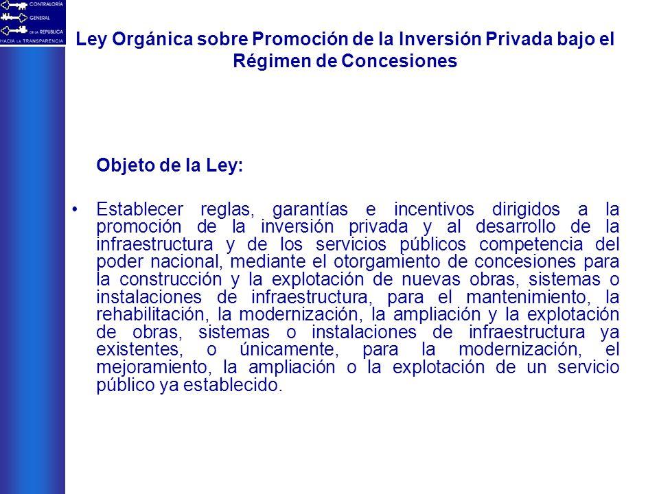 Ley Orgánica sobre Promoción de la Inversión Privada bajo el Régimen de Concesiones Objeto de la Ley: Establecer reglas, garantías e incentivos dirigi
