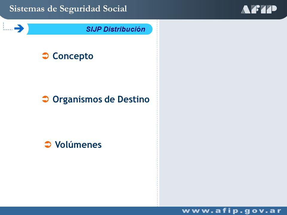 Concepto Organismos de Destino Volúmenes Sistemas de Seguridad Social C SIJP Distribución