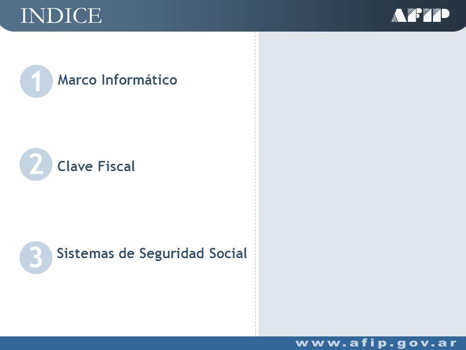 INDICE Sistemas de Seguridad Social 3 Marco Informático 1 2 Clave Fiscal