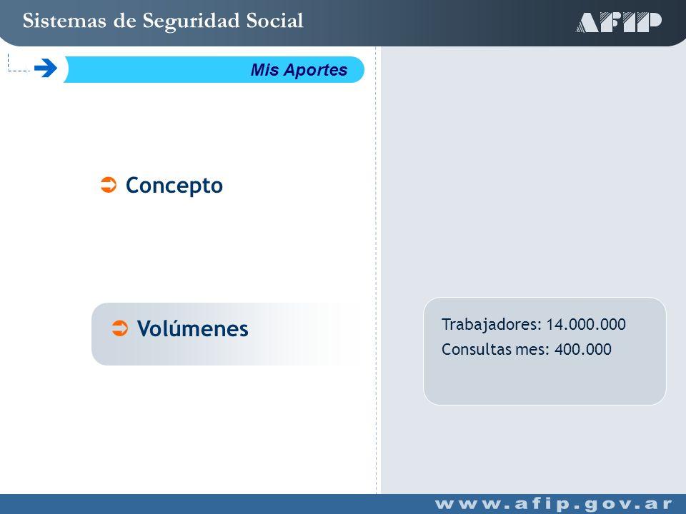 Trabajadores: 14.000.000 Consultas mes: 400.000 Concepto Volúmenes Sistemas de Seguridad Social C Mis Aportes