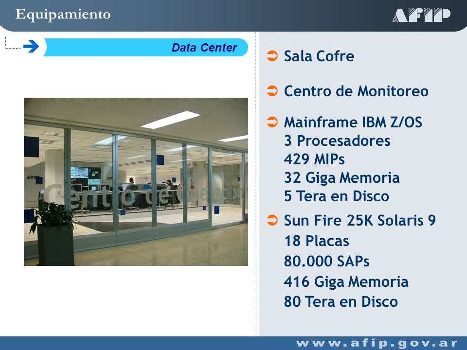 Equipamiento C Data Center Mainframe IBM Z/OS 3 Procesadores 429 MIPs 32 Giga Memoria 5 Tera en Disco Sun Fire 25K Solaris 9 18 Placas 80.000 SAPs 416 Giga Memoria 80 Tera en Disco Sala Cofre Centro de Monitoreo