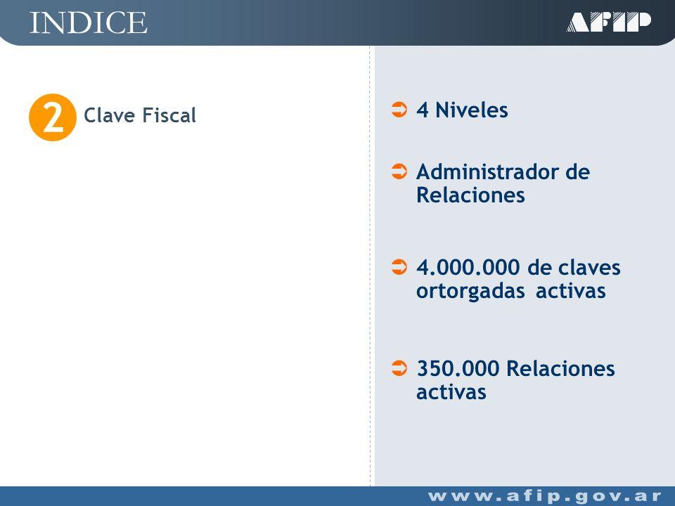 INDICE Clave Fiscal 2 4 Niveles Administrador de Relaciones 4.000.000 de claves ortorgadas activas 350.000 Relaciones activas
