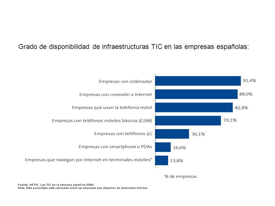 EMPRESAS Grado de disponibilidad de infraestructuras TIC en las empresas españolas: