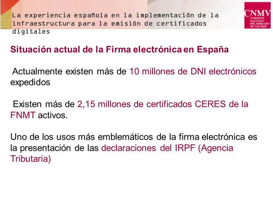 La experiencia española en la implementación de la infraestructura para la emisión de certificados digitales Situación actual de la Firma electrónica