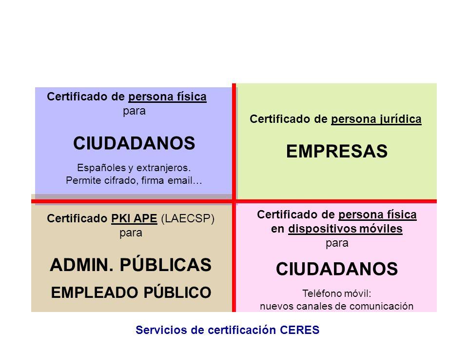 Certificado de persona física para CIUDADANOS Españoles y extranjeros. Permite cifrado, firma email… Certificado de persona jurídica EMPRESAS Certific