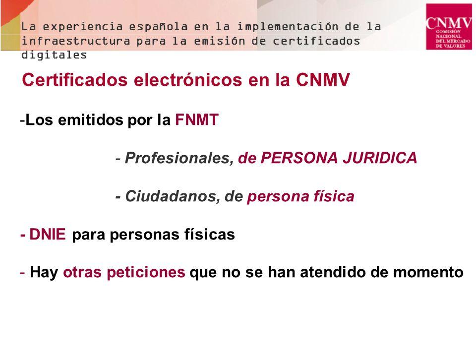 Certificados electrónicos en la CNMV -Los emitidos por la FNMT - Profesionales, de PERSONA JURIDICA - Ciudadanos, de persona física - DNIE para person