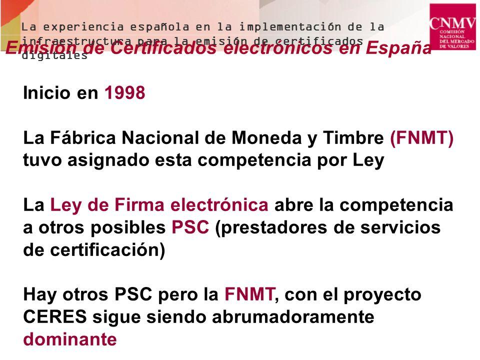 Emisión de Certificados electrónicos en España Inicio en 1998 La Fábrica Nacional de Moneda y Timbre (FNMT) tuvo asignado esta competencia por Ley La