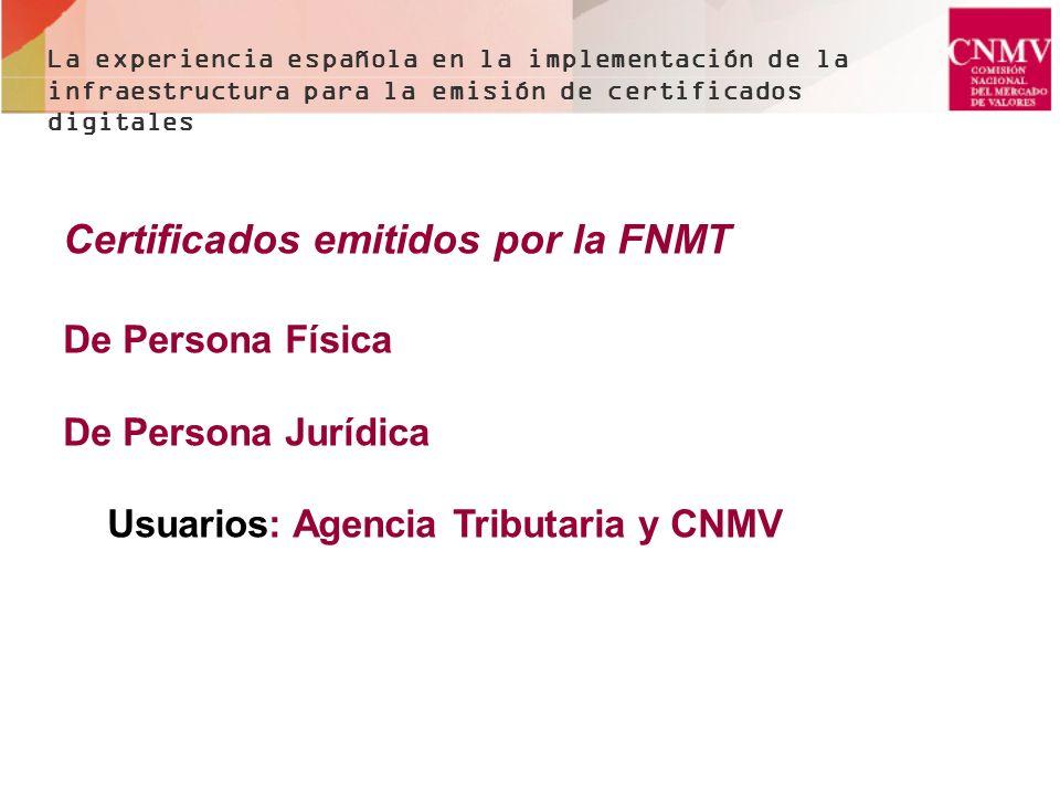 Certificados electrónicos en la CNMV -Los emitidos por la FNMT - Profesionales, de PERSONA JURIDICA - Ciudadanos, de persona física - DNIE para personas físicas - Hay otras peticiones que no se han atendido de momento La experiencia española en la implementación de la infraestructura para la emisión de certificados digitales